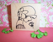 Rubber Romance UNMOUNTED Stamp - Sarah with a Rose