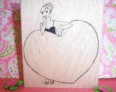 Rubber Romance Stamps-UNMOUNTED- Vicky has a Heart