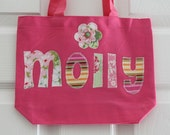 Small Girls Personalized Tote Bag With Flower - Great Flower Girl Gift, Birthday Present, Party Favors, Preschool Bag