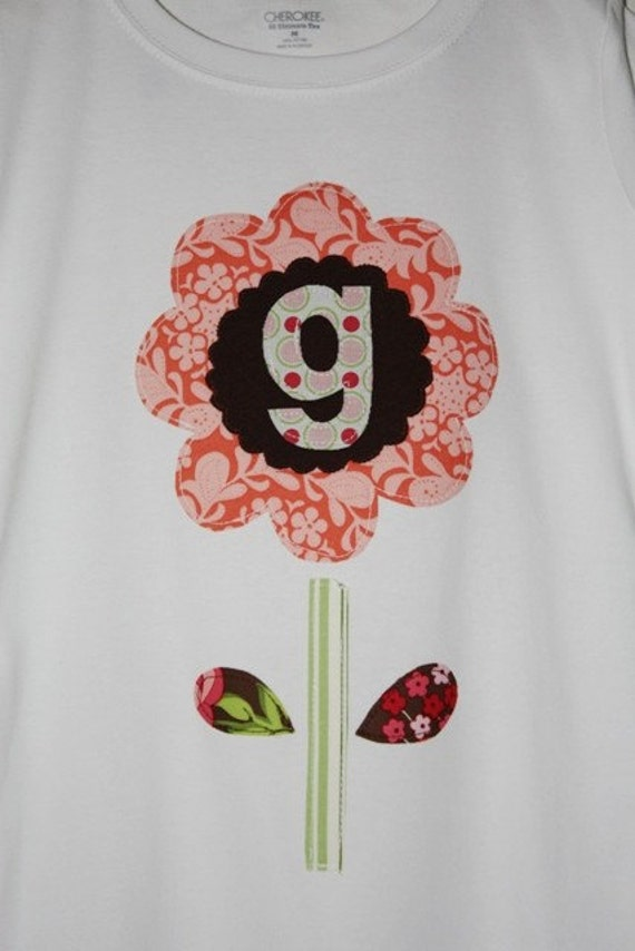 Happy Flower Initial or Number - Size 3 months to 12 years - by Green Apple Boutique