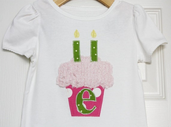 Personalized Girl Birthday Cupcake with Inital - Size 3 months to 12 years by Green Apple Boutique