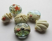 A Walk On The Beach (6) Handmade Lampwork Beads
