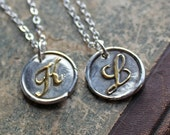 Wax Seal Monogram Necklace  Silver and 22kt Gold