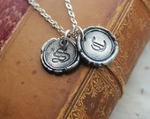 Petite Wax Seal Necklace - TWO INITIALS - Old English Vintage Monogram