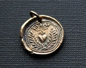 Flaming Heart Wax Seal Pendant in Bronze