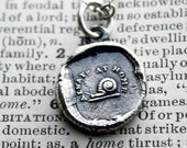 Always at Home - Snail - Wax Seal Necklace in fine silver- keepsake for loved ones away from home
