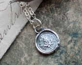 """Wax Seal """"Forget Me Not"""" charm necklace- flower Wax Seal Charm in eco friendly fine silver"""