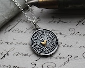 Flaming Heart Wax Seal Necklace - wax seal jewelry in fine silver and 22kt gold- Eternal Love