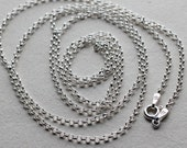 "Sterling Silver Rolo Necklace Chain - 16"", 18"", 20"", 22"", 24"", 30"""