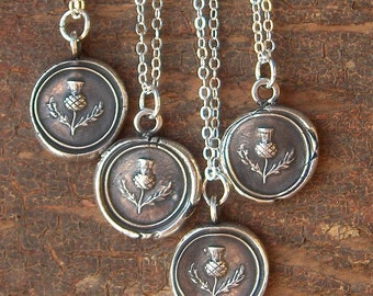 Scottish Thistle Wax Seal Necklace antique Scottish jewelry in fine silver - Scottish Thistle - Outlander Charm