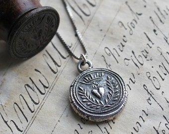 Flaming Heart Wax Seal Necklace  - in fine silver