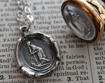 Faith Leaning on Hope Wax Seal Necklace eco friendly fine silver