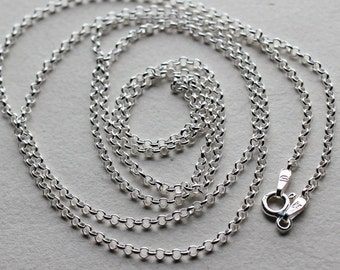 """Sterling Silver Rolo Necklace Chain - 16"""", 18"""", 20"""", 22"""", 24"""", 30"""""""