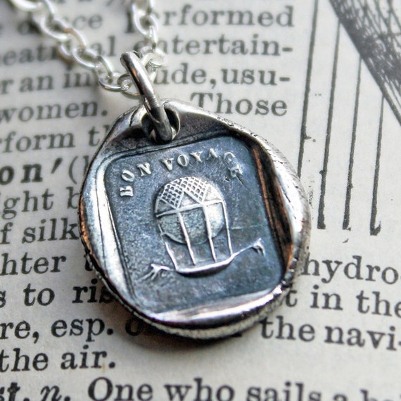 Hot Air Balloon Wax Seal Charm Necklace - Bon Voyage - Safe Travels and Good Luck Necklace - FS625