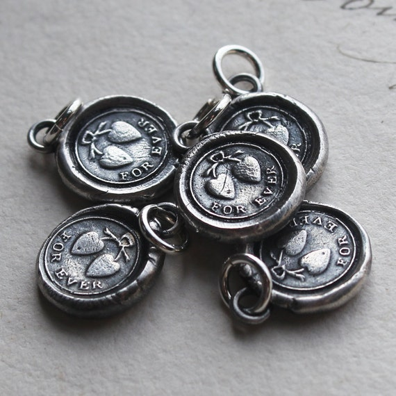 FOREVER - Wax Seal Charm - Tied Hearts in love forever - charm in fine silver