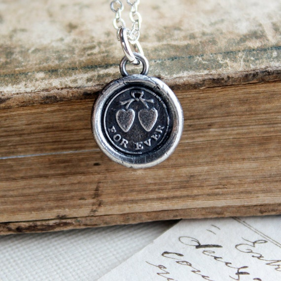Forever Antique Wax Seal Necklace - Tied Hearts Love Forever in reclaimed eco friendly fine silver