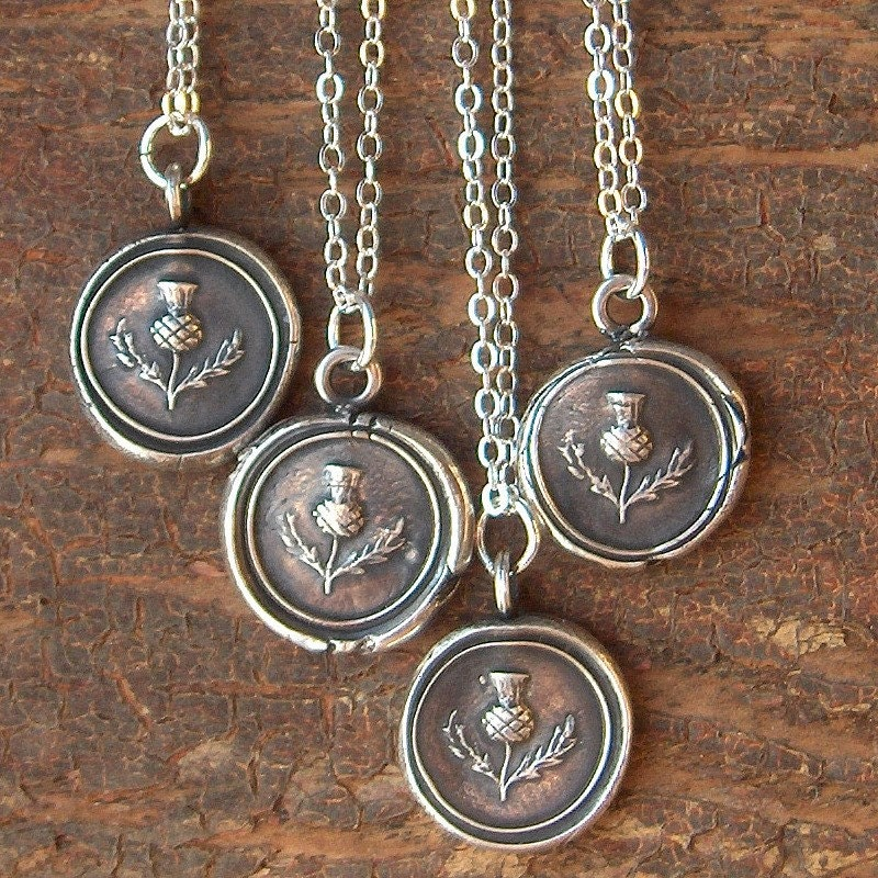 Scottish Thistle Wax Seal Necklace Antique Scottish Jewelry In