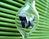 Tiny black, silver and lilac origami butterfly in a glass vial pendant