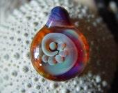 Amber Purple Wave Pendant- Lampwork Borosilicate