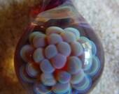 Amber Purple Anemone Pendant- Lampwork Borosilicate