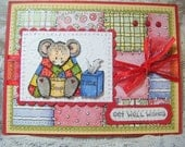 Handmade GET WELL card MOUSE wrapped in quilt Inside Outside