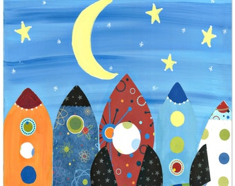 I Love You to the Moon 5x7 Wood Mounted Print-rocket ships