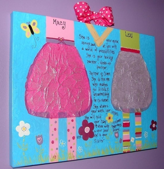 Hand-painted Acrylic 11x14 Personalized CUSTOM Sisters Canvas