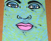 Original Drawing ACEO Green and Blue Face