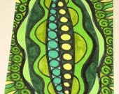 Original Drawing ACEO Green Peas and Green Lettuce Design
