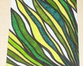 Original Drawing ACEO Green Leaves Design