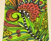 Original Drawing ACEO Red and Orange Flower Green Leaves Design