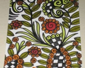Original Drawing ACEO Rust and Orange Flower Green Leaves Design