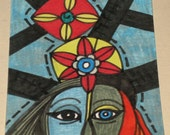 Original Drawing ACEO Grey Face and Blue Face Design