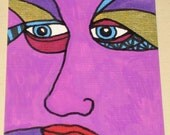 Original Drawing ACEO Purple Face Red Lips Design
