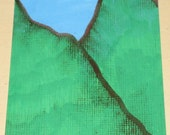 Original Drawing ACEO Green Welsh Hills Design