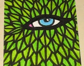 Original Drawing ACEO Green Leaves Face Blue Eye Design