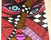 Original Drawing ACEO Brown Pink Red Orange Face Design