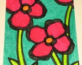 Original Drawing ACEO Red Flowers Green Background Design