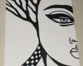 Original Pen and Ink ACEO Tree Head Woman Face Design
