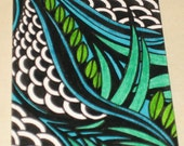 Original Pen and Ink ACEO Blue Green Flowers Black and White Design