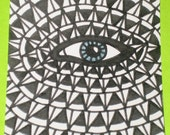 Original Drawing ACEO Black and White Blue Grey Eye Design