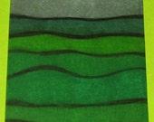 Original Drawing ACEO Green English Fields Grey Sky Design