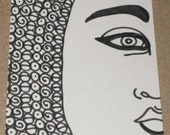 Original Drawing ACEO Black and White Half Face Woman