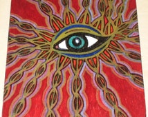 Blue Flame Eye Drawing Painting on Wood