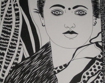 PEN and INK Drawing..... Woman with Plant
