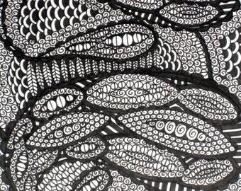 Original Ink Drawing Swirls and Paisley