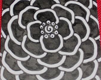 Original Drawing ACEO Black Flower