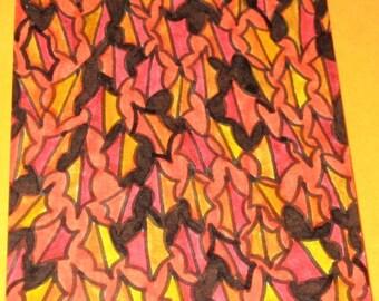 Original Drawing ACEO Red Orange Leaves