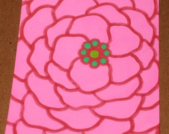 Original Drawing ACEO Pink Flower