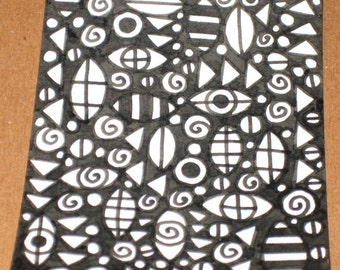 Original Drawing ACEO Black and White Design